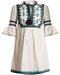 Talitha - Gathered-waist Embroidered Cotton Dress - Lyst