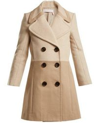 See By Chloé - Contrast-panel Wool-blend And Twill Coat - Lyst