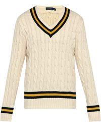 Polo Ralph Lauren - Pull de cricket en coton et cachemire à col en V - Lyst