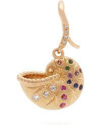 Aurelie Bidermann - Diamond, Multi Stone & 18kt Gold Single Earring - Lyst