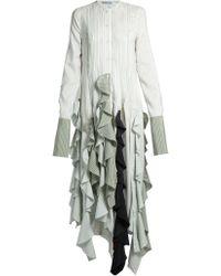 J.W.Anderson - Ruffled-hem Striped Dress - Lyst