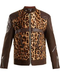 Junya Watanabe - Leather-trimmed Leopard-print Faux-fur Jacket - Lyst