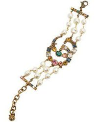 Gucci - Crystal And Pearl-embellished Gg Bracelet - Lyst