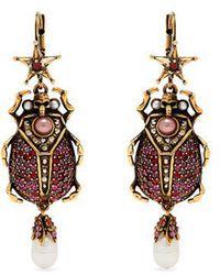 Alexander McQueen - Crystal-embellished Beetle-drop Earrings - Lyst