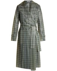 Wanda Nylon - Tie Waist Coated Tartan Trench Coat - Lyst