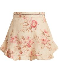 Zimmermann - Corsair Flutter Floral-print Linen Shorts - Lyst