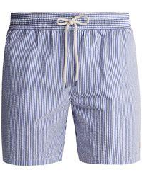 Polo Ralph Lauren - Striped Cotton-blend Seersucker Swim Shorts - Lyst