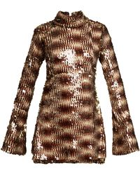 Halpern - Sequin Embellished High Neck Flared Sleeve Dress - Lyst