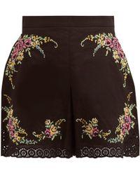 Zimmermann Allia Cross Stitch Embroidered Poplin Shorts