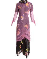 Preen By Thornton Bregazzi Lynn Floral Print Tulle Overlay Dress - Multicolour