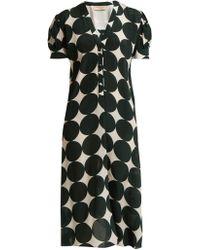 Adriana Degreas - Cacao Polka Dot Print Silk Dress - Lyst