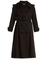 ALEXACHUNG - Double-breasted Velvet-trimmed Cotton Coat - Lyst