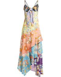Peter Pilotto - Floral Print Multi-panel Asymmetric Dress - Lyst