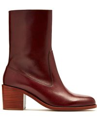 A.P.C. - Eva Leather Ankle Boots - Lyst