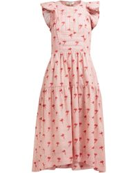 Sea Ruffled Floral Print Cotton Midi Dress - Pink