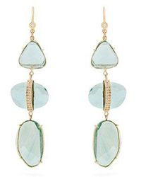 Jacquie Aiche - Diamond, Florite & Yellow-gold Earrings - Lyst