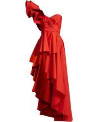 Johanna Ortiz - Paso Doble Asymmetric Ruffled Cotton-blend Top - Lyst