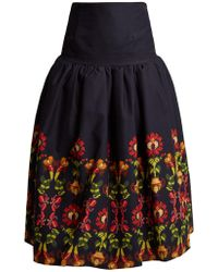 Stella Jean - Embroidered Full Pleated Skirt - Lyst