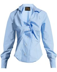 Vivienne Westwood Anglomania - Twisted Cotton Poplin Shirt - Lyst