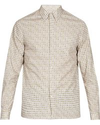 Prada - Circle Print Slim Fit Cotton Shirt - Lyst