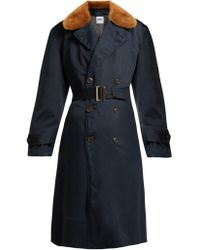 MYAR - Double Breasted Wool Blend Gabardine Coat - Lyst