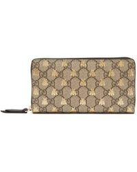 3aca93f6c5c9 Gucci Beige And Black Gg Supreme Bee Card Holder in Natural - Lyst