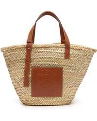 Loewe - Leather Trimmed Woven Basket Bag - Lyst