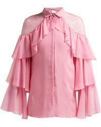 Giambattista Valli - Lace Shoulder Ruffled Silk Blouse - Lyst