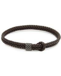 Bottega Veneta - Double Intrecciato-woven Leather Bracelet - Lyst