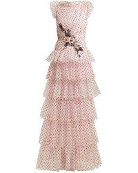 Rodarte | Flocked Tulle Ruffle Gown | Lyst
