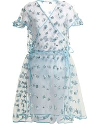 CECILIE BAHNSEN | Aida Floral-embellished Sheer Wrap Dress | Lyst