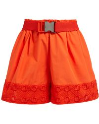 Fendi - High Rise Belted Embroidered Cotton Shorts - Lyst