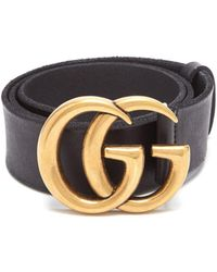 Gucci Snakeskin Effect Gg Logo Leather Belt
