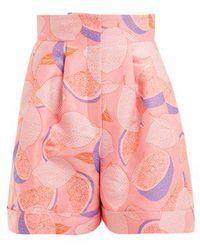 Vika Gazinskaya - Lemon-print Jacquard High-rise Shorts - Lyst