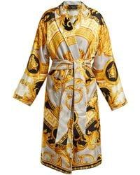 Versace La Coupe Des Dieux Baroque Print Silk Robe