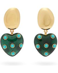Lizzie Fortunato - Amore Resin Heart Turquoise Drop Earrings - Lyst