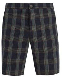 Oliver Spencer - Mid-rise Cotton-seersucker Checked Shorts - Lyst