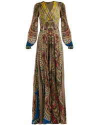 Etro - Bloodstone Paisley-print Silk Gown - Lyst