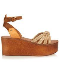 Isabel Marant - Zia Wooden Flatform Sandals - Lyst