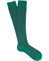 Gucci - Gg Intarsia Metallic Cotton Blend Socks - Lyst