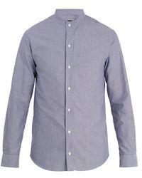 Giorgio Armani - Grandad-collar Checked Cotton Shirt - Lyst