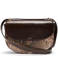 A.P.C. - Sac Genève Snake Embossed Leather Shoulder Bag - Lyst