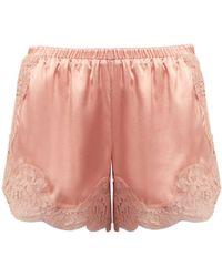Dolce & Gabbana - Lace-trimmed Silk-blend Shorts - Lyst