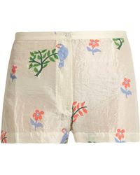 Thierry Colson   Armand Flower And Parrot-print Silk Shorts   Lyst