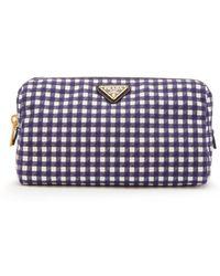Prada - Gingham Cotton Make Up Bag - Lyst