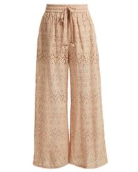 Zimmermann - Bayou Cotton And Silk-blend Trousers - Lyst