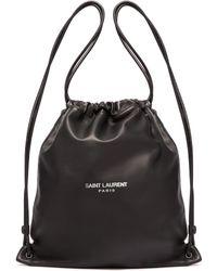 Saint Laurent - Teddy Logo Print Leather Backpack - Lyst