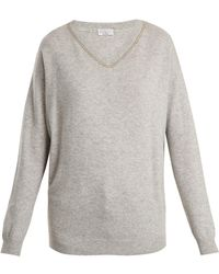 Brunello Cucinelli - Embroidered V-neck Cashmere Jumper - Lyst