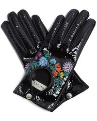 Gucci - Loved-embroidered Leather Gloves - Lyst