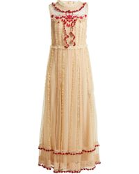 0c844c377ac RED Valentino - Ruffle Trimmed Lace Dress - Lyst